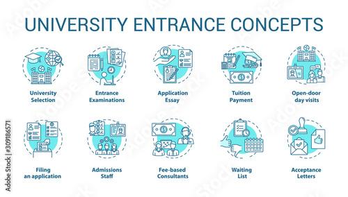 Fotomural University entrance concept icons set
