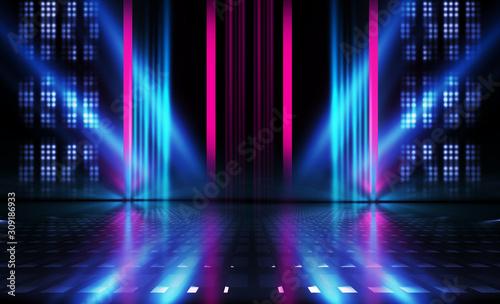 Empty dark abstract background. Background of empty show scene. Glow of neon lights on an empty concert venue. Reflection of light on the pavement. - 309186933