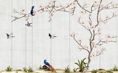 Panel Szklany 3D Wooden wall, thin curved flowering magnolia tree, flock of blue birds