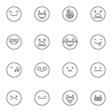 Emoji Emotions Line Icons Set. Linear Style Symbols Collection, Outline Signs Pack. Emoticon, Smiley Vector Graphics. Set Includes Icons As Blowing Kiss Emoji, Shocked Expression, Face With Sunglasses