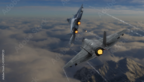 Foto F-35 stealth jet fighter chasing russian su-57 jet figter dogfight 3d render