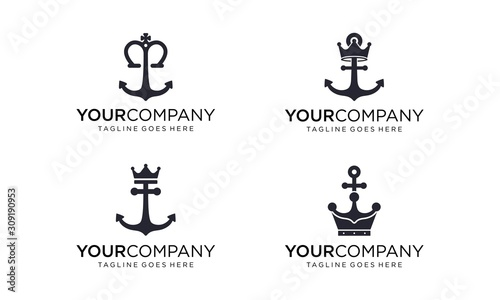 Valokuvatapetti Nautical king anchor logo design vector on white background