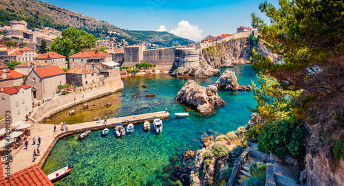 Panoramic morning view of famous Fort Bokar in city of Dubrovnik. Splendid summer scene of Croatia, Europe. Beautiful world of Mediterranean countries. Traveling concept background.. - 309193173