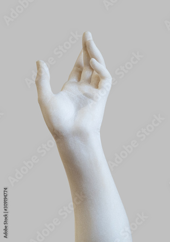 Stampa su Tela marble statue white hand reaching out