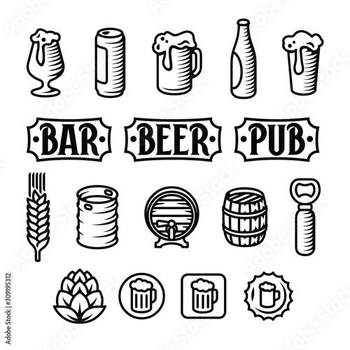 Fototapeta Beer icon set. Engraved style beer illustrations. obraz na płótnie