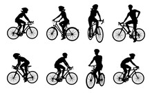 A Set Of Bicyclists Riding Bikes And Wearing A Safety Helmet In Silhouette