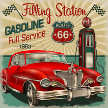 Filling Station Retro Poster