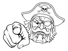 A Pirate Cartoon Character Captain Mascot Face And Pointing Hand With Skull And Crossed Bones On His Tricorne Hat
