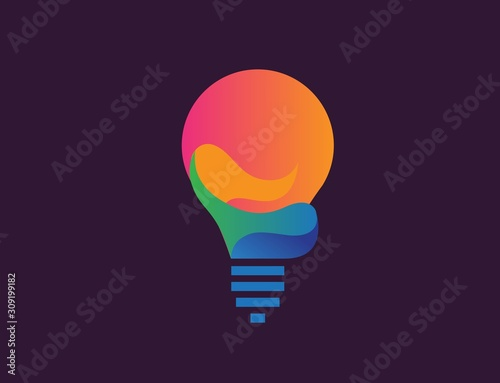 Obraz Creative light bulb lamp logo. Modern icon vector graphic - fototapety do salonu