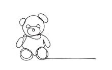 Teddy Bear, Line Drawing Style...