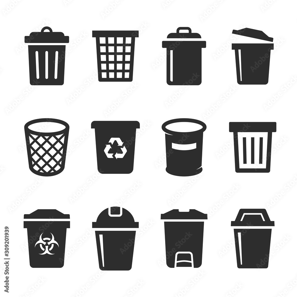 Fototapeta set of vector trash can icon