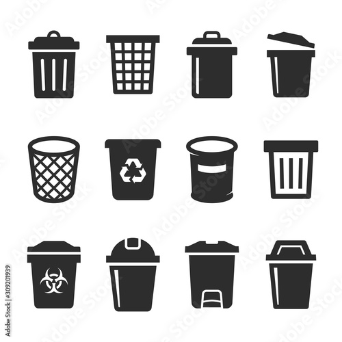 Photo set of vector trash can icon