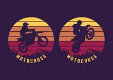 Motocross Jump Silhouette With Sunset Background Vintage Retro Illustration