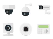 Security Camera Icons Set. CCT...
