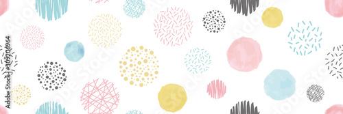 Obraz na plátně 様々な円形のシームレスパターン