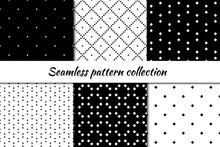 Seamless Pattern Collection. Geometrical Design Backgrounds Set. Repeated Rhombuses, Diamonds, Squares Motif. Geo Print