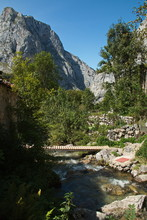 Rio Tejo In The Village Bulnes In National Park Picos De Europa In Asturia,Spain,Europe