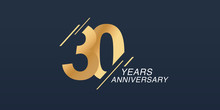 30 Years Anniversary Vector Icon, Logo. Graphic Design Element With Golden Number