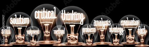 Fotografía Light Bulbs with Critical Thinking Concept