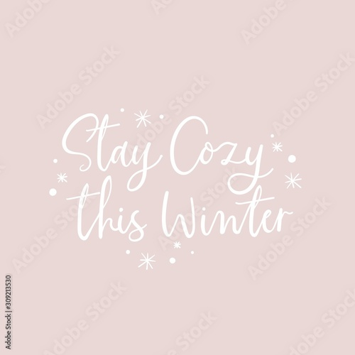 Stay cozy this winter positive lettering vector illustration Tablou Canvas