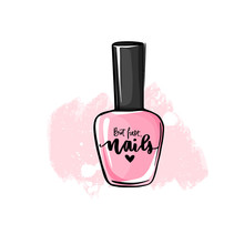 Vector Nail Polish Bottle. Handwritten Lettering About Nails And Manicure