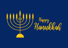 Happy Hanukkah Golden Menorah Vector. Golden Candlestick On A Dark Background. Happy Hanukkah Greeting Card. Jewish Holiday Hanukkah. Falling Jewish Stars. Important Day