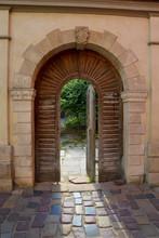 Antique Wooden Door Open Gate