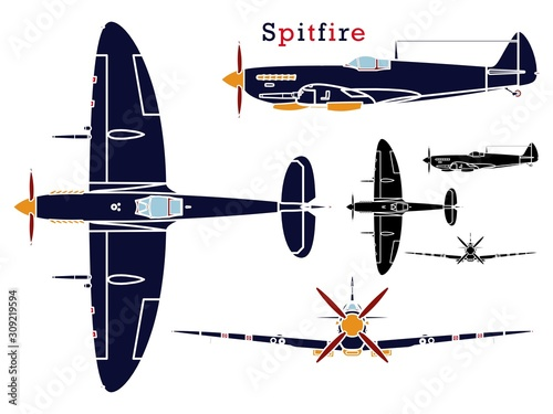 Fototapeta Supermarine Spitfire aircraft WWII without outline.