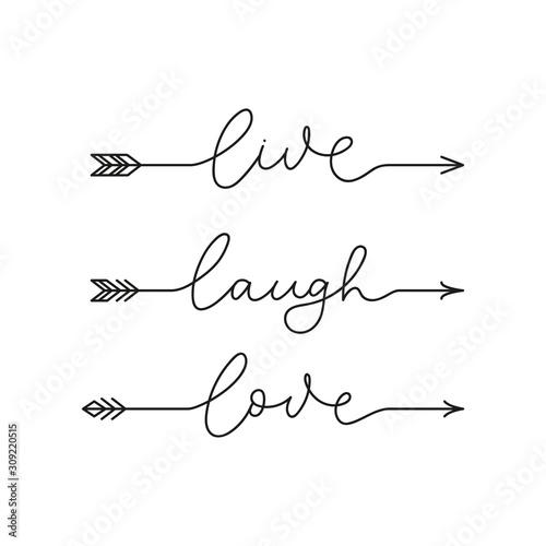 Live laugh love inspirational lettering quote vector illustration Wallpaper Mural