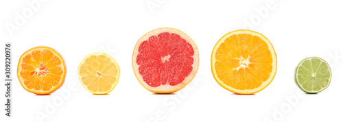Fotomural  Set of citrus fruits isolated on white background. Juicy food