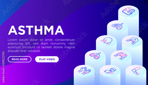 Asthma web page template with thin line isometric icons: allergen, dyspnea, cough, wheezing, chest pain, diaphragm, asthma attack, sputum, peak flow meter, inhaler, nebulizer Canvas Print