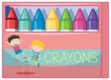 Box Of Colorful Crayongs