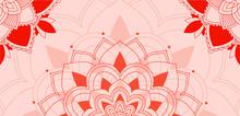 Mandalas Pattern On Pink Backg...