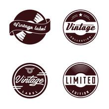 Retro Vinyl Records Emblem. Retro Label. Vintage Badges