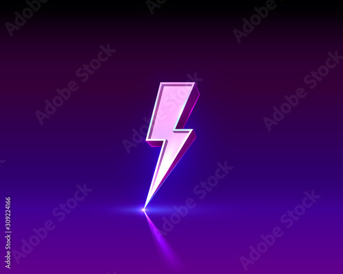 Neon sign of lightning signboard on the black background. Wall mural