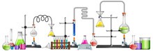 Science Equipments On White Ba...
