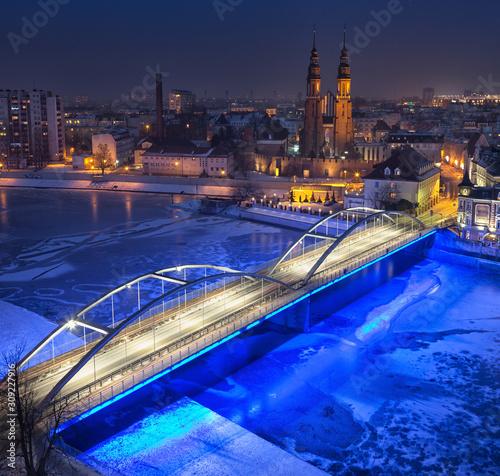 Fototapety, obrazy: Opole city Silesia Poland with night and day photography, Nocą miasto śląsk.