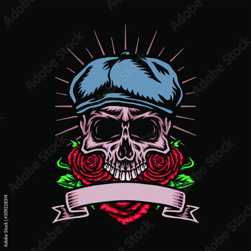 Leinwand Poster Skull in cabbie hat with rose flower, vector illustration