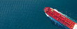 canvas print picture - Aerial drone ultra wide panoramic photo of industrial fuel and petrochemical tanker cruising open ocean deep blue sea