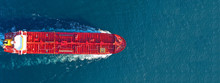 Aerial Drone Ultra Wide Panoramic Photo Of Industrial Fuel And Petrochemical Tanker Cruising Open Ocean Deep Blue Sea
