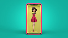 Beautiful Cartoon Brunette Girl In A Red Retro Dress With Black Polka Dots Standing On The Yellow Podium On Smartphone Screen. Online Store Of Women's Clothing. 3d Illustration On Turquoise Background
