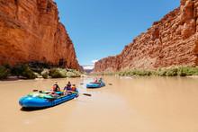 Men Rafting In Colorado River