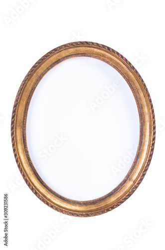 Fototapeta Simple empty retro oval wooden frame isolated on white background obraz