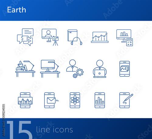 E-learning line icon set