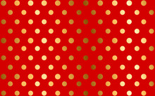 Golden Dots On Red Background,...