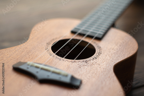 Defocused ukulele body, soundhole, bridge and neck on brown wooden background Wallpaper Mural