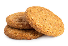 Three Crunchy Oat And Wholemeal Biscuits Isolated On White.