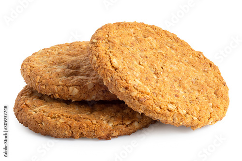 Foto Three crunchy oat and wholemeal biscuits isolated on white.