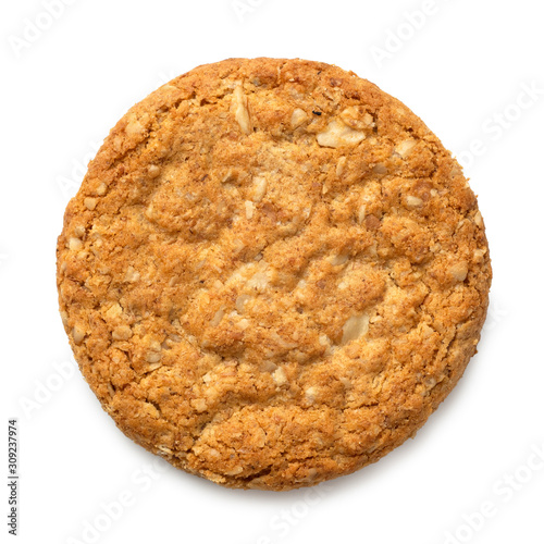 Fototapeta Crunchy oat and wholemeal biscuit isolated on white. Top view. obraz