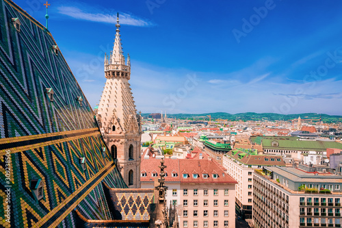 Cityscape with Stephansdom Church in Old city center in Vienna Wallpaper Mural